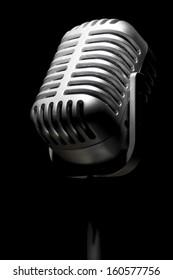 Close up of a retro mic in the spotlight