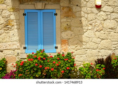 close up retro style old house window of Mediterranean architectural culture in Alacati town of Izmir, Turkey