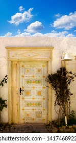 close up retro style old house door of Mediterranean architectural culture in Alacati town of Izmir, Turkey