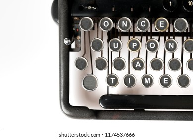 Close up of retro style typewriter in studio, once upon a time