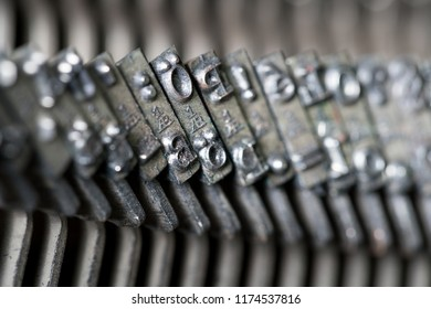 Close up of retro style typewriter in studio