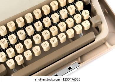 Close up of retro style typewriter in studio
