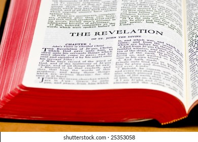 Close up of The Revelation bible page