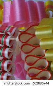 Close up of ribbon candy.