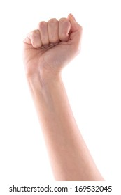 Close Up of right female hand - raised up clenched fist