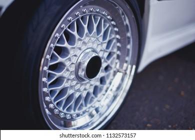 Close up of rims car alloy wheel. Sport wheels.