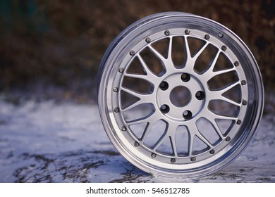Close up of rims car alloy wheel. Old sport wheels.