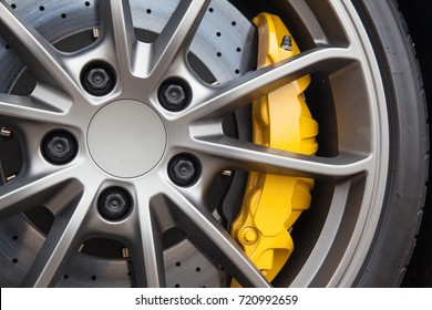 Close up of rims from a sports car