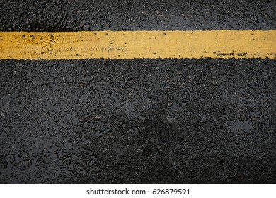 close up the road yellow line