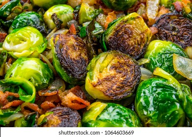Close up of Roasted Brussels Sprouts with bacon and onion