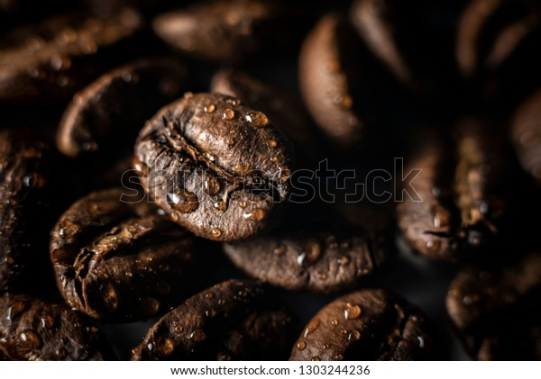Close Roasted Coffee Beans Background Water Stock Photo