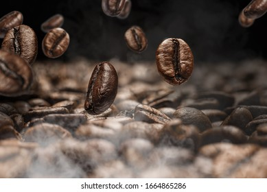 close up roasted coffee beans fall