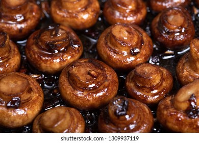 Close up of roasted mushrooms with garlic and balsamico