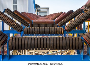 Close up of roller conveyor in factory