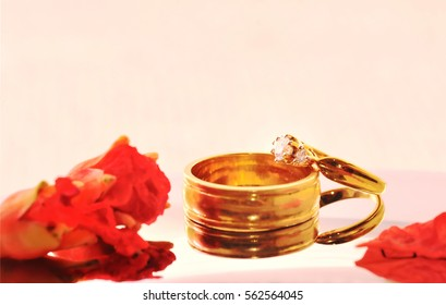 Close up romantic wedding ring with celebration background, selective focus.