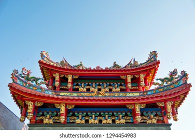 Close up of roof details on historic temple in China.