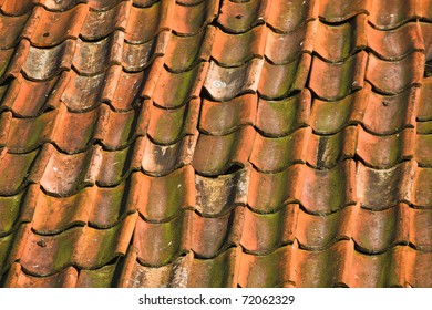 Close up of roof tiled with old pantiles