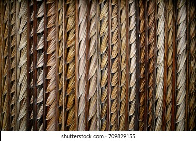 Close up roof top material made by dry coconut leaf