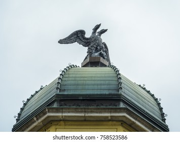 Close up of  the roof With the two Headed Eagle on the top of the Rieka's Clock tower