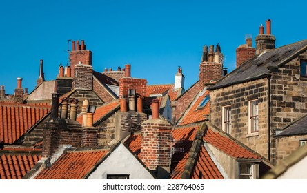 Close rooftops of the fishing village of Robin Hood's Bay in North Yorkshire.