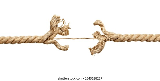 close up of a rope under pressure on white background