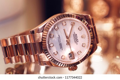 Close up of a rose gold Rolex watch - August 2018