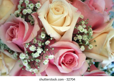 Close up of roses in a bride's bouquet