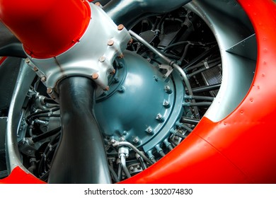 close up of a rotary engine, propeller, nacelle