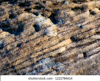Close up of the rough surface of gritstone rock. Individual layers run diagonally.