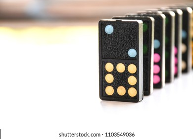 Close up to In a row domino on background view. toy game view copy space.