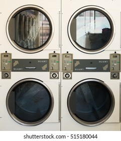 Close Up Row of washing machine of laundry business in the public store.