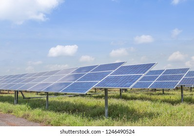 Close up rows array of polycrystalline silicon solar cells or photovoltaic cells in solar power plant turn up skyward absorb the sunlight from the sun alternative renewable energy on blue sky
