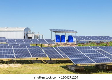 Close up rows array of solar cells or photovoltaics in solar power plant systems convert light energy from the sun into electricity alternative renewable clean energy from nature