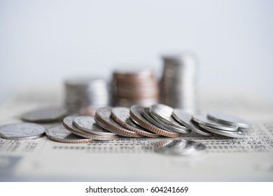close up of rows coins for finance and banking concept