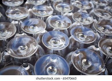 Close up Rows of Empty Glasses