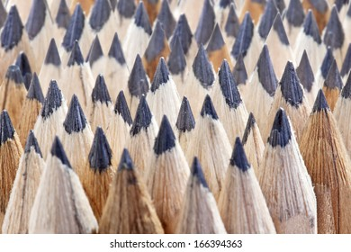 close up of rows of sharp ground graphite wooden texture pencil nibs