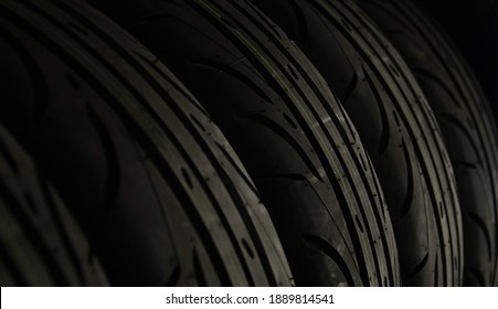 The close up of rubber surface of automobile wheel