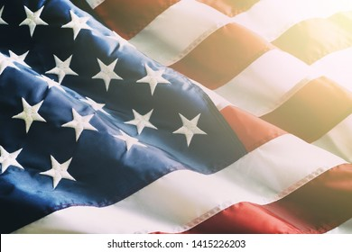 Close up ruffled American flag