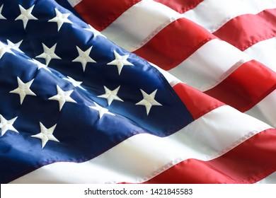 Close up ruffled American flag