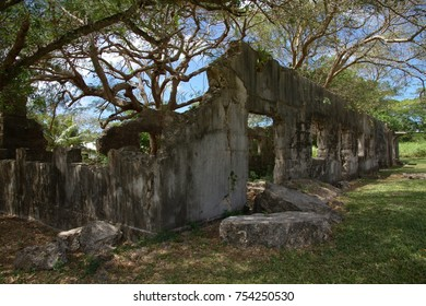 Close up of the ruins of an old World War 11 Japanese Jail  and archeological district on Saipan, Northern Mariana Islands, listed in the U.S. National Register of Historic Places.