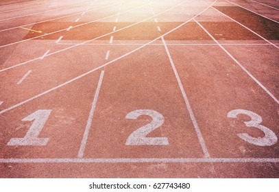 close up of running track with number