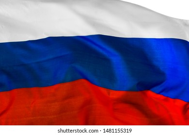 Close up of a Russia flag waving in the wind, isolated on white background