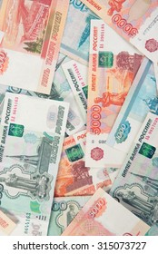 close up of Russian money Rouble Banknotes background