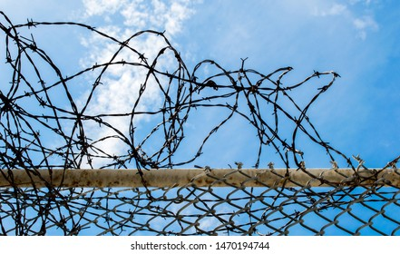 close up of a rusted chain link fence with a tangled coil of barbed wire on top under blue skies with white clouds