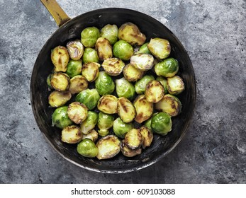 close up of rustic crispy fried brussels sprouts