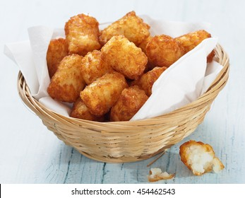 close up of rustic golden potato tater tots