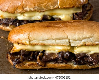 close up of rustic philly cheese steak sandwich