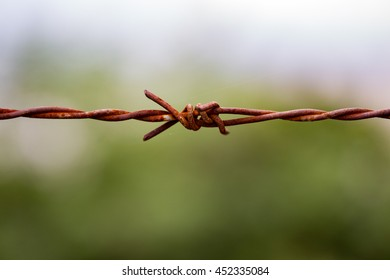 Close up of rusty metallic fence or gate with blue sky and green field for protection background
