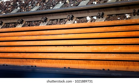 Close up rusty railway bars - Background