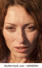 close up of a sad woman